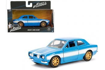 """Brian's Ford Escort Blue and White """"Fast & Furious"""" Movie 1/32 Diecast Model Car by Jada"""