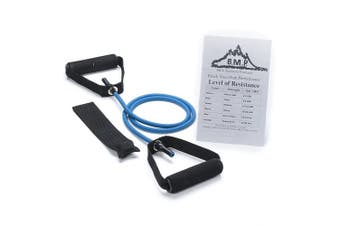 (Blue) - Black Mountain Products Single Resistance Band - Door Anchor and Starter Guide Included Blue