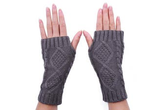 (Dark Grey) - HDE Women's Fingerless Gloves Crochet Cable Knit Wrist, Hand, and Arm Warmers