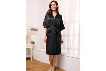 (XX-Large, Black) - Aibrou Women's Kimono Robe Long Dressing Gown Long Classic Satin Wedding Kimono Nightwear