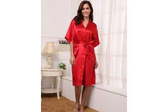 (X-Large, Wire Red) - Aibrou Women's Kimono Robe Long Dressing Gown Long Classic Satin Wedding Kimono Nightwear