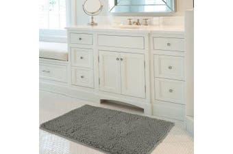 (60x100 cm, Light Grey) - Mayshine 60x100 Light Grey Non-slip Bath Mat Chenille Bathroom Rug Machine-washable Anti-slip Shower Water Absorbent Soft Microfibers