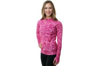 (Pink Water, X-Small) - Aqua Design Women Loose Fit Long Sleeve UPF Sun Protection Swim Surf Athletic Rash Guard With Thumb Holes Top Vest T-Shirt
