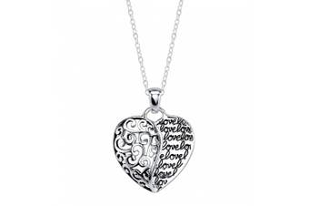 "Sterling Silver with Gold-Flashed ""Love"" Mother and Daughter Forever Heart Pendant Necklace, 46cm"