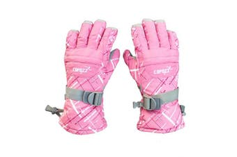 (Pink) - COPOZZ Waterproof Ski Snowboard Gloves for Men Women Thinsulate Winter Insulated Motorcycle Snowmobile Warm Gloves w/Zippered Pocket