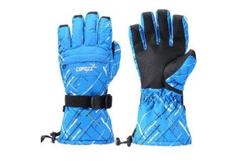 (Blue) - COPOZZ Waterproof Ski Snowboard Gloves for Men Women Thinsulate Winter Insulated Motorcycle Snowmobile Warm Gloves w/ Zippered Pocket (Camo Blue, Medium) (Blue, X-Large)