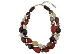 (wine) - Bocar 2 Layer Statement Chunky Beaded Fashion Necklace for Women Gifts
