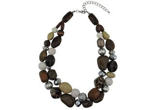 (brown) - Bocar 2 Layer Statement Chunky Beaded Fashion Necklace for Women Gifts
