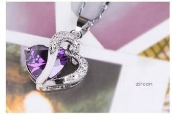 (amethyst) - findout blue/white/amethyst/heart sterling silver pendant necklaces, for woman/girl (supply in gift box)