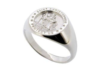 (S) - LoveSilver - Sterling Silver Mens St Christopher Ring In Gift Box