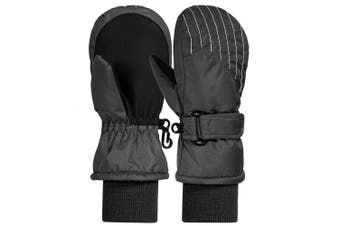 (Black, 2-4 Years Old) - Andake Kids Ski Mittens, 3M Thinsulate Extra Warm Gloves,Breathable Windproof Ski Mittens, Great for 2-7 Years Old Children in Winter