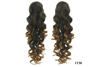 (Black to Light Auburn 1T30) - PrettyWit 60cm Pony Tail Ponytail Hair Extensions Hairpiece Wig Long Messy Curls Wavy Clip In/On Claw-Black to Light Auburn 1T30