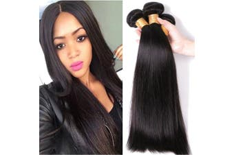 (30cm , Straight) - Virgin Hair Bundles Weave Remy Human Hair Extensions Straight Weft Waving Grade 8A Unprocessed 100g, 30cm / 30cm
