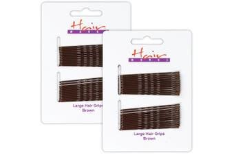 48x Long Brown Bobby Pins 6.5cm