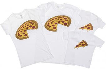 (Medium, White) - ART HUSTLE Pizza and Slice Father and Baby Matching Outfits (Sold Separately)