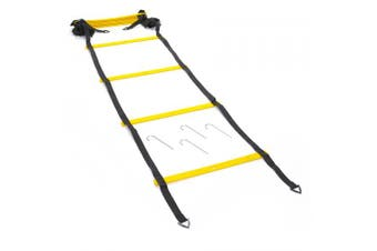 (6 m, Yellow) - Black Mountain Products Foldable Agility Ladder with Carry Bag 6M
