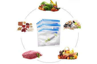 (Sous Vide Bags Kit) - Uarter Sous Vide Bags Kit For Anova and Joule Cookers 15 PCS Reusable Vacuum Sealer Bags Air Tight BPA Free with 1 Hand Pump, 2 Sealing Clip, 2 Sous Vide Bag Clip for Food Storage