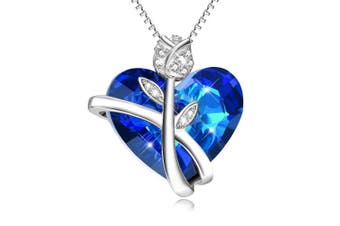 Sterling Silver Rose Flower Love Heart Pendant Necklace with Crystals,Christmas Gifts Jewellery for Women