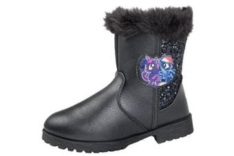 (UK Infants 7, Twilight Sparkle & Rainbow Dash) - My Little Pony Girls Boots Warm Winter Fur Cuff Glitter Ankle Boots MLP Shoes Size UK 6-12