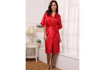 (Small, Wire Red) - Aibrou Women's Kimono Robe Long Dressing Gown Long Classic Satin Wedding Kimono Nightwear