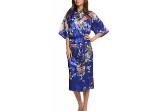 (3XL, Darkblue) - Dolamen Women's Dressing Kimono Gown, Silk Satin Peacock and Blossoms Robe Bathrobe Bridesmaid Nightwear Pyjamas, Long Style, UK 8,10,12,16,14,18