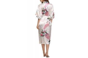 (L, White) - Dolamen Women's Dressing Kimono Gown, Silk Satin Peacock and Blossoms Robe Bathrobe Bridesmaid Nightwear Pyjamas, Long Style, UK 8,10,12,16,14,18