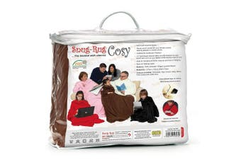 (Brown) - Snug Rug Cosy, Fleece Blanket With Sleeves and a Handy Pouch Pocket - CHOCLATE BROWN
