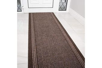 (Length: 5' (152cm)) - The Rug House Brown Rubber Backed Very Long Hallway Hall Runner Narrow Rugs Custom Length - Sold and Priced Per Foot