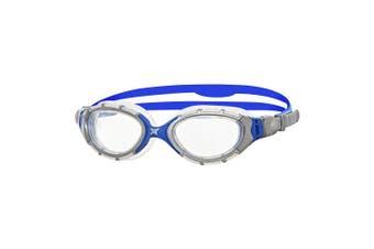 (Silver/Blue/Clear) - Zoggs Unisex Predator Flex 2.0 Swimming Goggles
