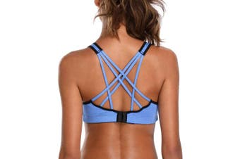 (Blue Plain, Medium) - CharmLeaks Women Light Support Strappy Cross Back Sports Bra Wirefree Workout Active Yoga Gym Sportswear