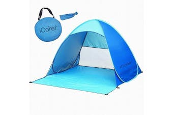 (Blue) - Beach Tent iCorer Automatic Pop Up Instant Portable Outdoors Quick Cabana Sun Shelter