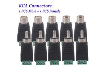 10 PCS RCA Connector, Bestga Phono RCA Male and Female Plug to AV Screw Terminal Audio Video Connector Adapter for CCTV Security Camera System