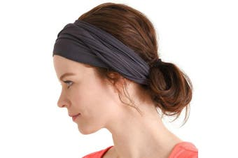 (Dark Gray) - Casualbox mens Elastic Bandana Headband Japanese Long Hair Dreads Head wrap