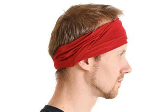 (Red) - Casualbox mens Elastic Bandana Headband Japanese Long Hair Dreads Head wrap