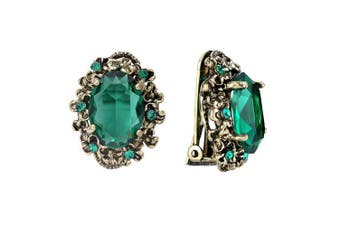 (Emerald Color) - Clearine Women's Victorian Style Crystal Floral Cameo Inspired Oval Clip-On Stud Earrings