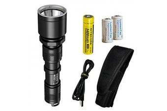 nitecore mh25gt 1000 lumen usb rechargeable led flashlight - long range throwing with 2x cr123a batteries (upgrade for mh25)