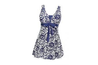 (UK 20-22, Dark Blue) - AMAGGIGO Ladies Polka Bikini Dress Plus Size Swimwear Retro Beachwear Halterneck Swimsuit with Boyshort(FBA)
