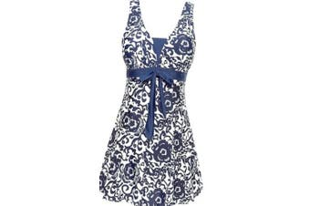 (UK 12-14, Dark Blue) - AMAGGIGO Ladies Polka Bikini Dress Plus Size Swimwear Retro Beachwear Halterneck Swimsuit with Boyshort(FBA)