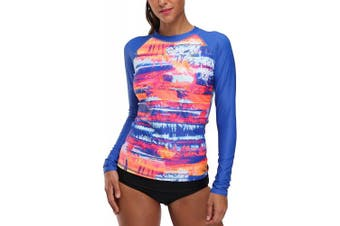 (X-Large, Royal Blue Printing) - CharmLeaks Women Long Sleeve Surf Sports Rash Vest Tropical Rash Guard Top UPF50+