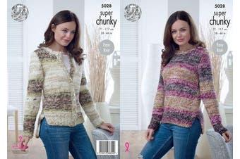 King Cole Ladies Super Chunky Knitting Pattern Easy Knit Split Hem Sweater & Cardigan (5028)
