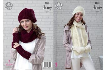 King Cole Ladies Chunky Knitting Pattern Beanie Scarf Mittens Snood Hat & Wrist Warmers (5035)