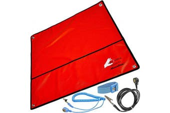 (Rot 60 x 60 cm) - Minadax® Anti-ESD Set | Antistatic Mat - Wrist Loop - Earth Cable | Red | Incl. Accessories