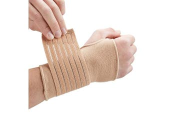 (Large (17-19 cm), Beige) - Actesso Elastic Wrist Support With Strap (Black or Beige) (L, Beige) - Ideal for Sprains, Injury or Sports Use with no metal bar - Provides excellent support without inhibiting the wrists flexibility