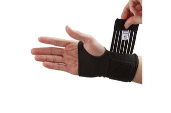 (Small (12-14.5 cm), Black) - Actesso Elastic Wrist Support With Strap (Black or Beige) (S, Black)- Ideal for Sprains, Injury or Sports Use with no metal bar - Provides excellent support without inhibiting the wrists flexibility