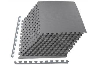 """(Gray, ½"""" Thick, 48 Square Feet) - BalanceFrom 2.5cm Extra Thick Puzzle Exercise Mat with EVA Foam Interlocking Tiles for MMA, Exercise, Gymnastics and Home Gym Protective Flooring"""