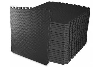 """(Black, 3/4"""" Thick, 96 Square Feet) - BalanceFrom 2.5cm Extra Thick Puzzle Exercise Mat with EVA Foam Interlocking Tiles for MMA, Exercise, Gymnastics and Home Gym Protective Flooring"""