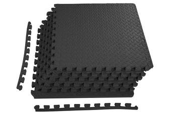 "(Black, 3/4"" Thick, 24 Square Feet) - BalanceFrom Puzzle Exercise Mat with EVA Foam Interlocking Tiles"