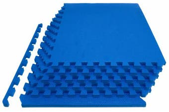 """(3/4"""" Thick 24 Square Feet, Blue) - Prosource Fit Extra Thick Puzzle Exercise Mat 3/4"""" or 2.5cm , EVA Foam Interlocking Tiles for Protective, Cushioned Workout Flooring for Home and Gym Equipment"""