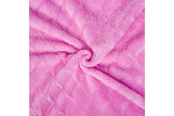 (Embossed Pink, Adults) - Mermaid Tail Blanket for Kids Teens Adults,Plush Soft Flannel Fleece All Seasons Sleeping Blanket Bag,Plain Fish Scale Design Snuggle Blanket,Best Gifts for Girls,Women,63x152cm