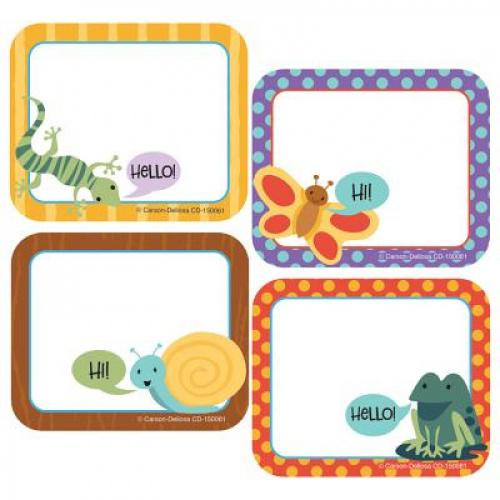 """Nature Explorers Name Tags Perfect for field trips or labeling documents, Nature Explorers name tags make organization a breeze. The pack includes 40 self-adhesive name tags—each measures 3 × 2.5 and features a patterned border in soft colors accompanied by a butterfly, frog, snail, or lizard saying """"Hi"""" or """"Hello."""" Carson-Dellosa's name tags make it easy to stay organized in the classroom or on-the-go! You can use self-adhesive classroom name tags for students or as labels to keep storage boxes, folders, cubbies, and shelves in order. Create a cohesive classroom theme by checking out coordinating Nature Explorers products."""